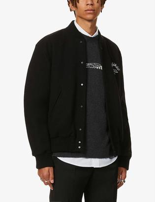 Off-White Arrow-print wool-blend varsity jacket