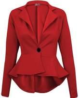 Crazy Girls Womens Ladies Fitted Dip Hem Peplum Style Blazer Jacket