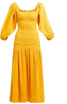Rhode Resort Harper Shirred Cotton-gauze Midi Dress - Womens - Yellow