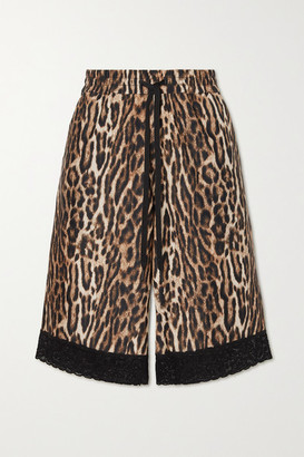 Twin Fantasy Lace-trimmed Leopard-print Stretch-jersey Shorts - Brown