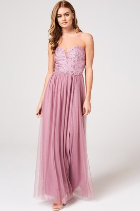 Little Mistress Phoebe Canyon Rose Floral Hand-Embellished Bandeau Maxi Dress