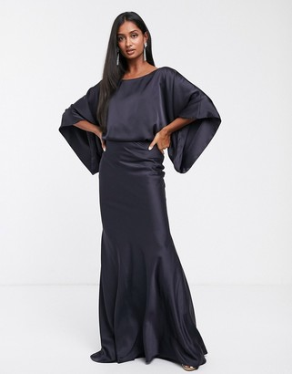 Asos Edition EDITION kimono plunge back maxi dress-Navy