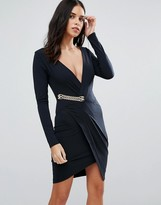Jessica Wright Long Sleeve Wrap Dress