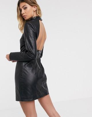 Asos Design DESIGN Premium long sleeve quilted PU mini dress-Black