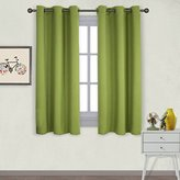 Nicetown Thermal Insulated Solid Grommet Top Blackout Curtains / Drapes for Kid's Room (1 Pair,42 x 63 Inch in Fresh Green)