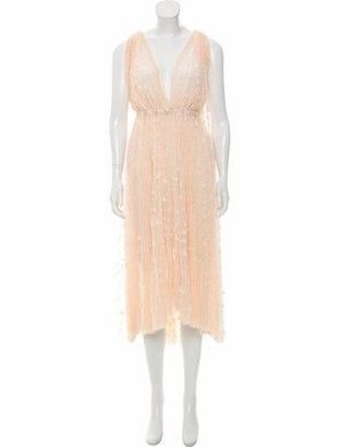 Maria Lucia Hohan Embroidered Tulle Dress w/ Tags Champagne
