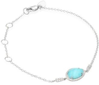 Meira T Diamond, Turquoise Doublet & 14K White Gold Bracelet