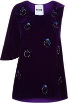 Koché Purple Velvet Embellished One Sleeve Top