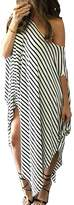 POGT Women's Striped Irregular Long Maxi Dress Kaftan Dress (L, Black and white)