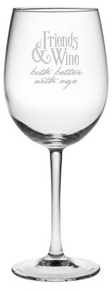 """Susquehanna Glass Great Gift Idea """"Friends And Wine.Both Better With Age"""" Stem Wine Glass Single 19 oz"""