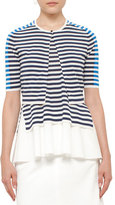 Akris Punto Striped Half-Sleeve Cropped Cardigan, White/Blue