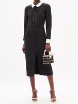 Thumbnail for your product : RED Valentino Bow-neck Slit-hem Crepe Midi Dress - Black
