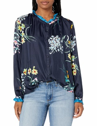 Johnny Was Women's Silk Printed Blouse with Long Sleeve and Ruffle trimm