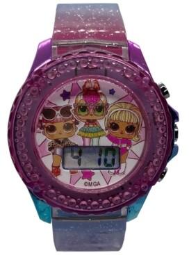 Accutime Kid's Lol Surprise Digital Rainbow Glitter Silicone Strap Watch 34mm