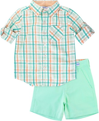 Ruggedbutts Plaid Button-Up Shirt & Shorts Set
