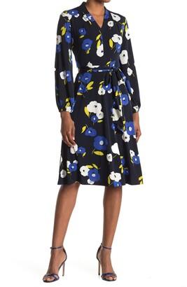 London Times Jersey Print Bishop Sleeve Wrap Dress