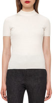 Akris Cable-Knit Mock-Neck Sweater, Moonstone