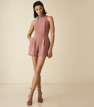 Reiss Lucille - Open Back Playsuit in Blush