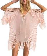 Yonala Womens Crochet Tassel Swimwear Beach Dress Bikini Swimsuit Cover Up Tops