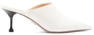 Prada High Cut Crocodile Embossed Leather Mules - Womens - White