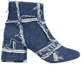 MM6 MAISON MARGIELA denim ankle boots - women - Cotton/Leather/rubber - 39