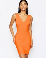 Wow Couture Bandage Plunge Front Midi Dress