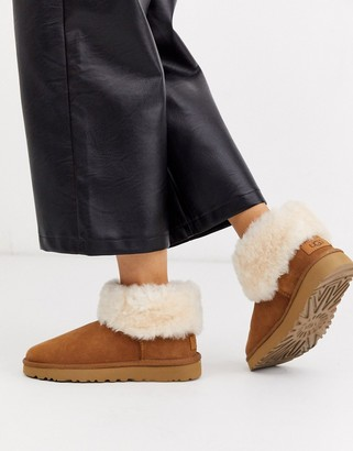 UGG Classic Mini Fluff ankle boots in chestnut
