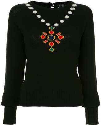 Chanel Pre Owned Necklace Intarsia Jumper