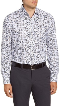 Emanuel Berg Regular Fit Floral Button-Up Oxford Shirt