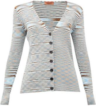 Missoni Moire-knit V-neck Cotton Cardigan - Womens - Blue Multi