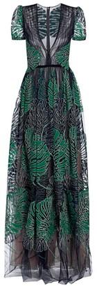 J. Mendel Deep-V Puff-Shoulder Palm Lace Gown