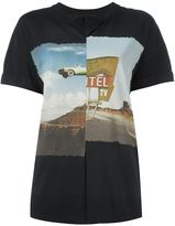 Cédric Charlier pleated landscape print T-shirt - women - Cotton - 40