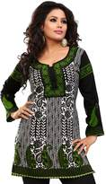 Maple Clothing Indian Long Kurti Top Tunic Printed Womens India Clothes (Black, L)