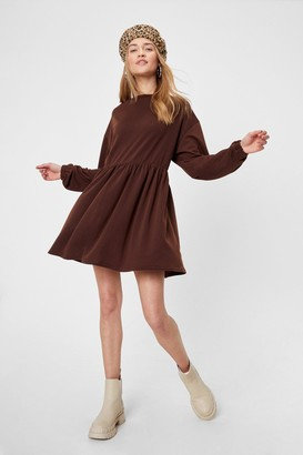 Nasty Gal Womens Smock Out the Competition Relaxed Mini Dress - Chocolate