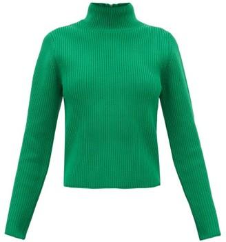 Tibi Zip-through Roll-neck Ribbed Sweater - Womens - Green