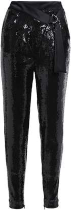 Just Cavalli Belted Sequined Woven Slim-leg Pants