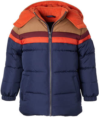 Perry Ellis Boys' Puffer Coats NAVY - Navy & Orange Color-Block Hooded Puffer Coat - Toddler & Boys