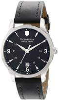 Victorinox Men's 241474 Quartz Watch with Black Dial Analogue Display and Black Leather Strap