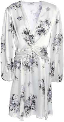 Ganni Cameron Twist-front Floral-print Satin Mini Dress
