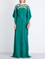 Oscar de la Renta Floral-embellished silk-crepe kaftan