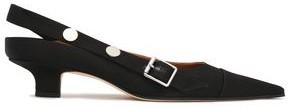 Victoria Beckham Buckle-detailed Studded Satin Slingback Pumps