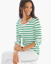 Chico's Striped Revi Roll-Tab Tee