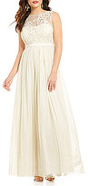 JS Collections Round Neck Sleeveless Beaded Bodice Chiffon Gown