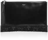 Rochas Black Leather Clutch with Lace Appliqué