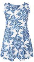 Quiz Curve Blue And White Crochet Paisley Print Skater Dress
