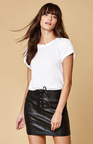 Honey Punch Faux Leather Lace-Up Mini Skirt