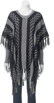 Mudd Knit Stripes Fringed Poncho