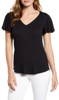 Gibson x Hot Summer Nights Roselyn Flutter Sleeve V-Neck Tee (Nordstrom Exclusive)