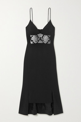 David Koma Asymmetric Embellished Crepe Midi Dress - Black