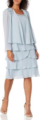 SL Fashions Women's Embellished Tiered Jacket Dress (Petite and Regular)
